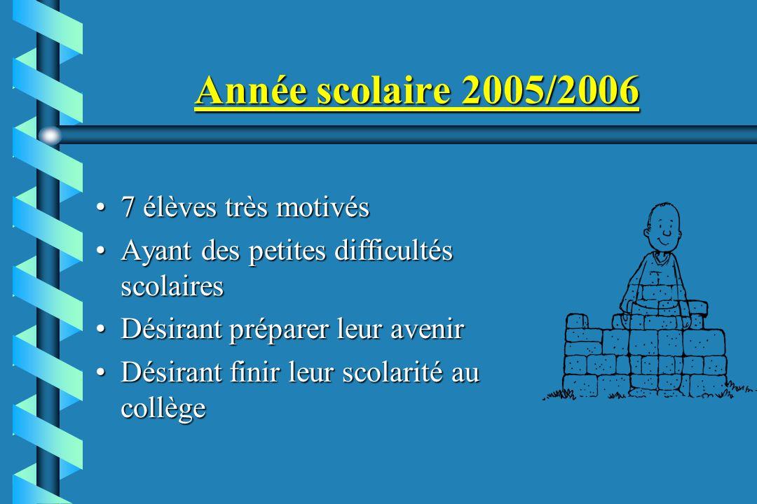 Année scolaire 2005/2006 7 élèves très motivés