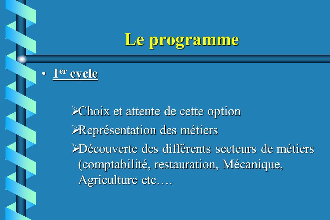 Le programme 1er cycle Choix et attente de cette option
