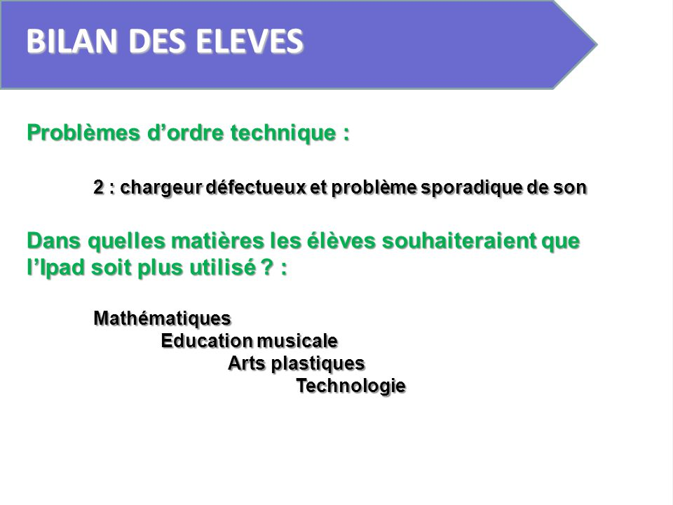BILAN DES ELEVES Problèmes d'ordre technique :