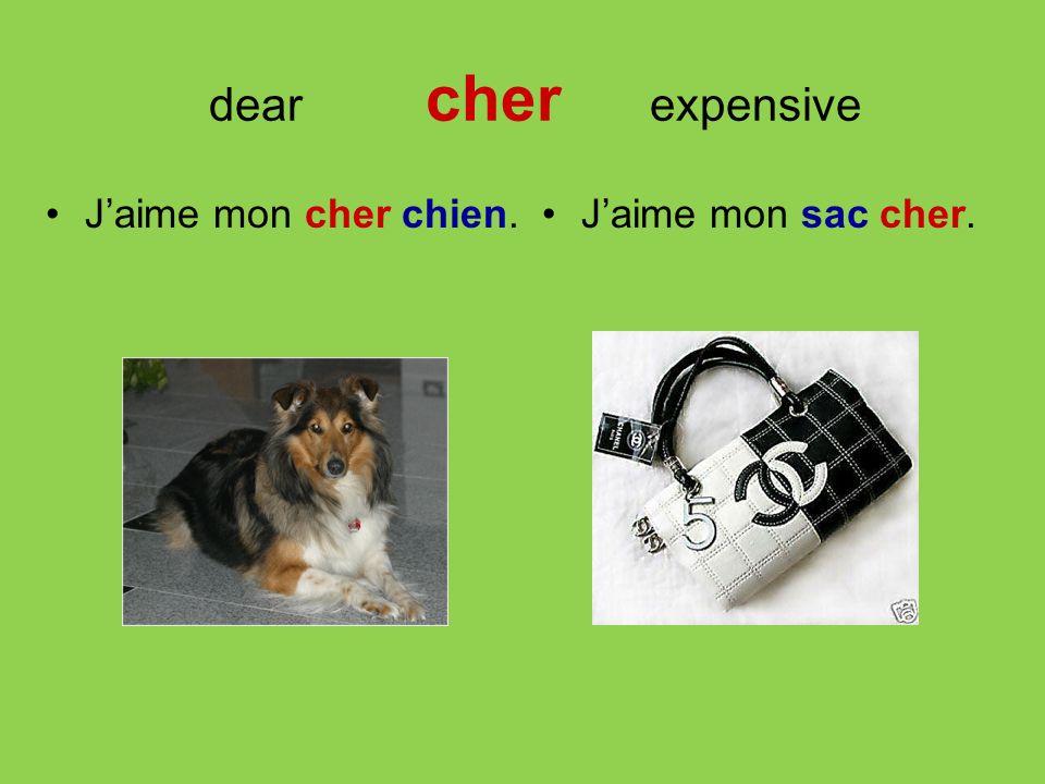 dear cher expensive J'aime mon cher chien. J'aime mon sac cher.