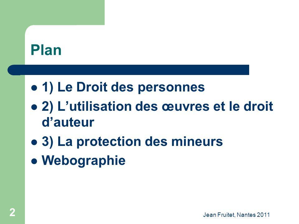 Plan 1) Le Droit des personnes