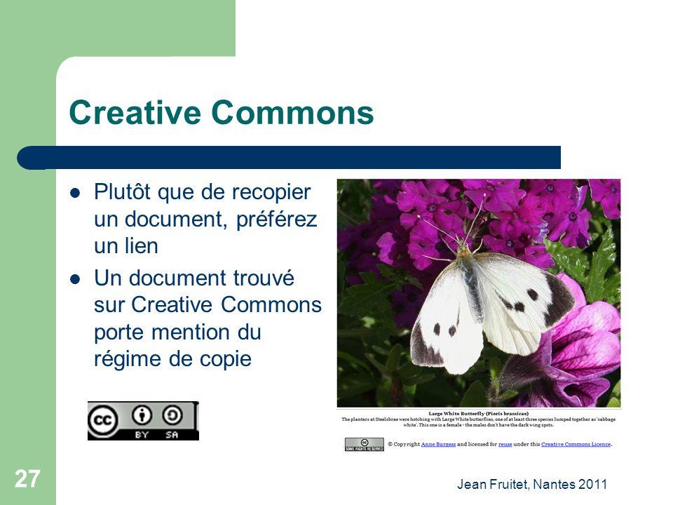 Creative Commons Plutôt que de recopier un document, préférez un lien
