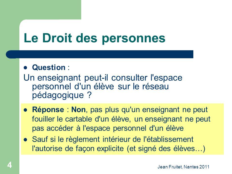Le Droit des personnes Question : Un enseignant peut-il consulter l espace personnel d un élève sur le réseau pédagogique