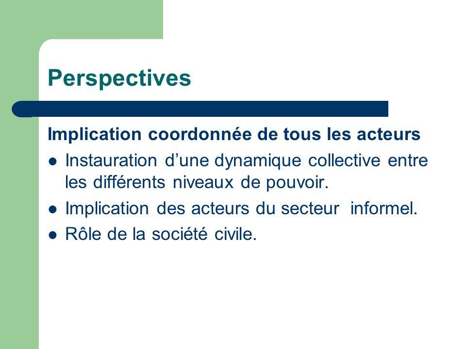 Perspectives Implication coordonnée de tous les acteurs