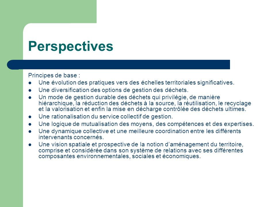 Perspectives Principes de base :