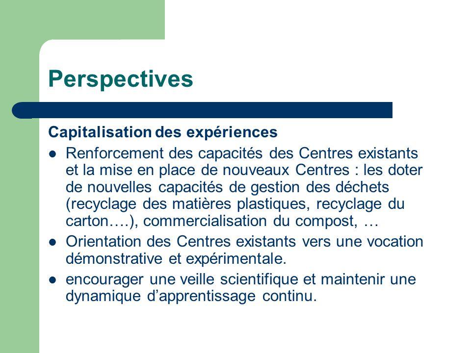 Perspectives Capitalisation des expériences
