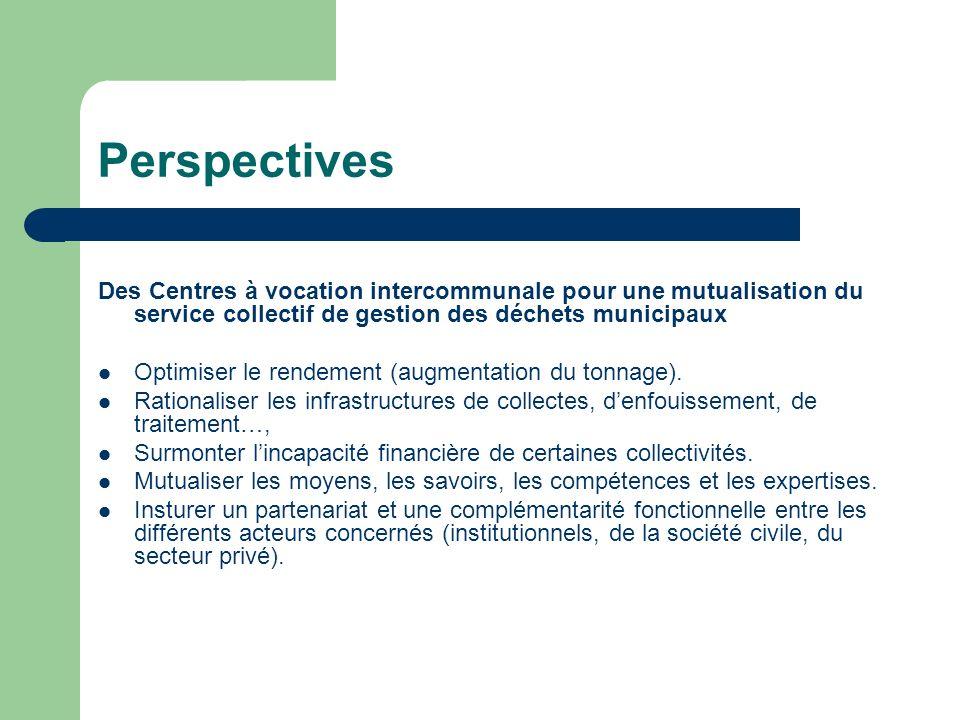 Perspectives Des Centres à vocation intercommunale pour une mutualisation du service collectif de gestion des déchets municipaux.