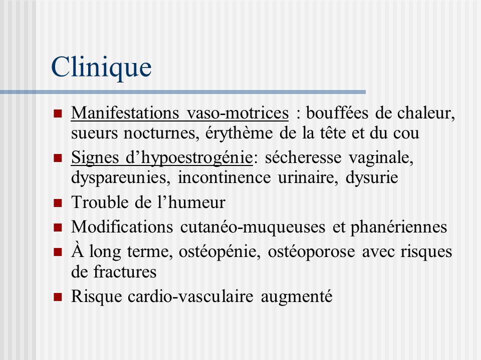 Clinique Manifestations vaso-motrices : bouffées de chaleur, sueurs nocturnes, érythème de la tête et du cou.