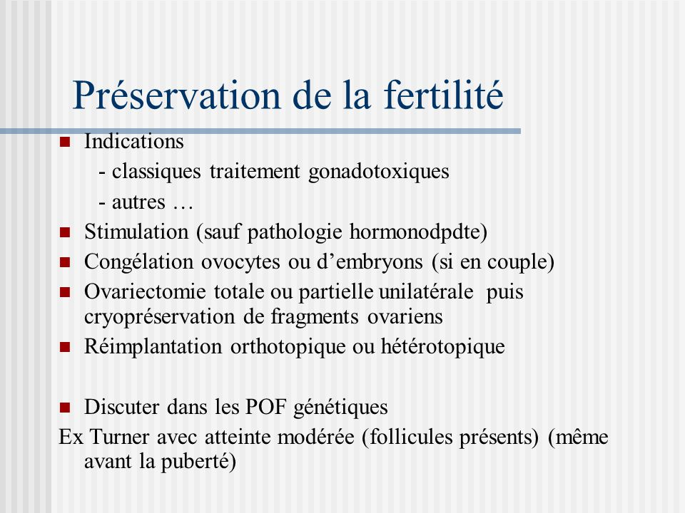 Préservation de la fertilité