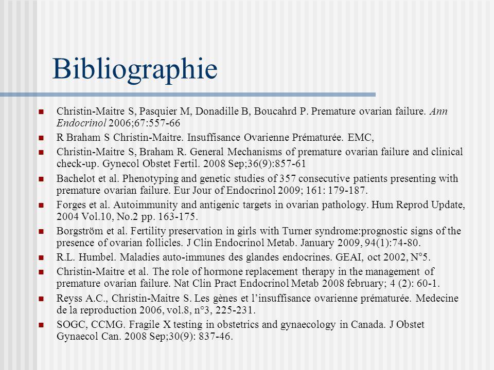 Bibliographie Christin-Maitre S, Pasquier M, Donadille B, Boucahrd P. Premature ovarian failure. Ann Endocrinol 2006;67:557-66.