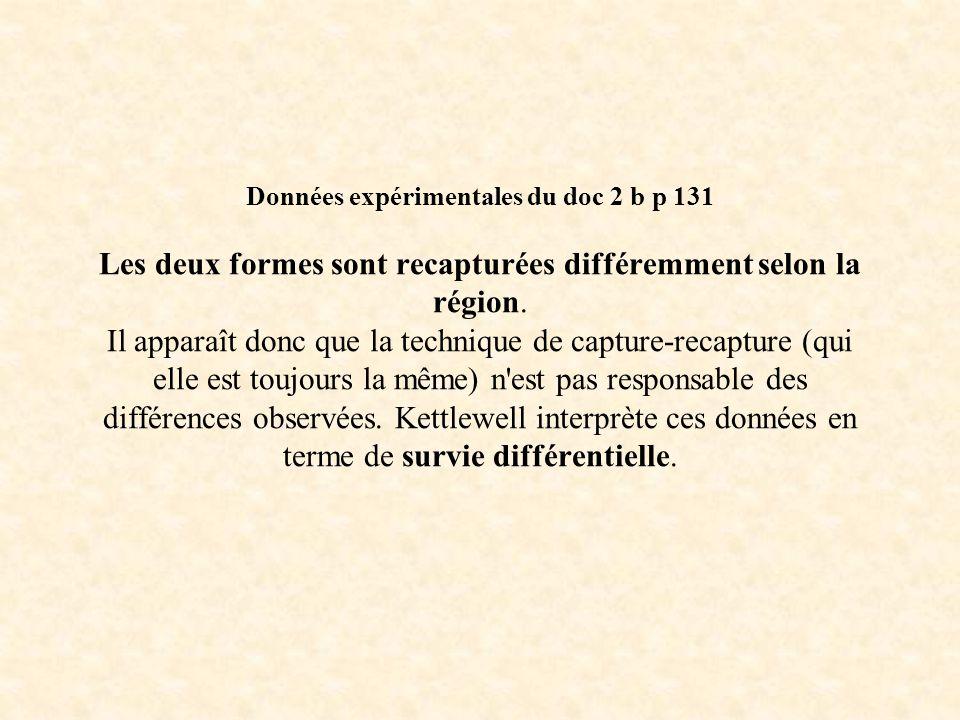 Données expérimentales du doc 2 b p 131 Les deux formes sont recapturées différemment selon la région.