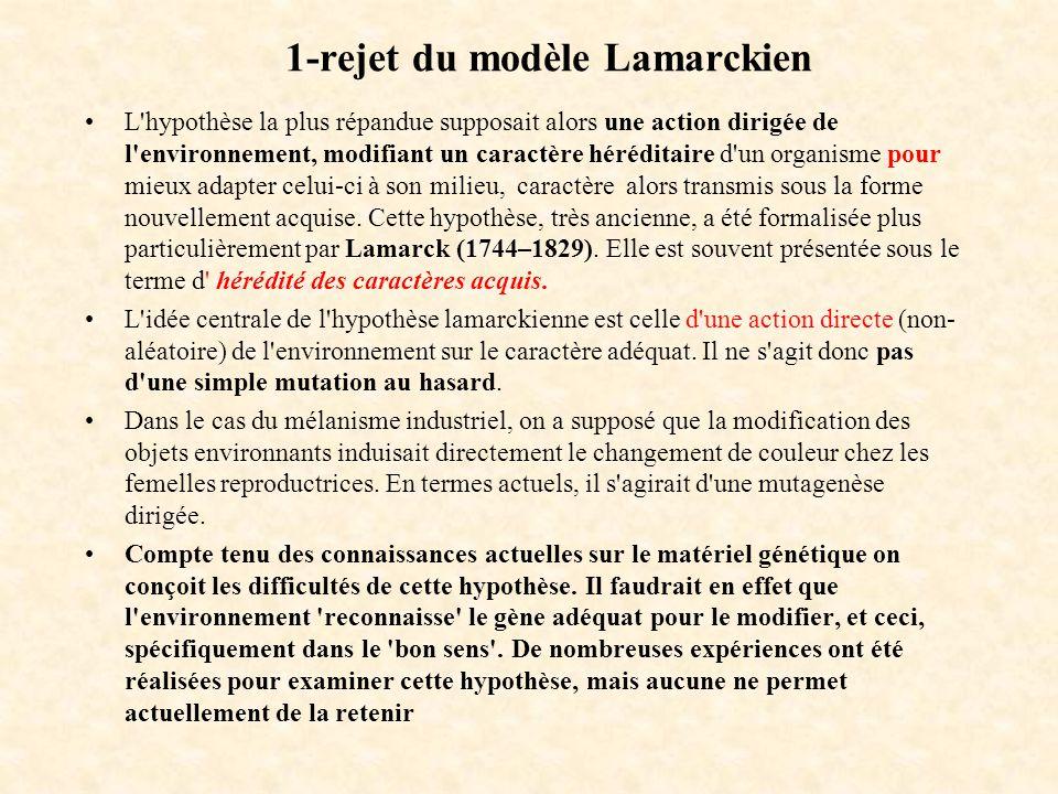 1-rejet du modèle Lamarckien