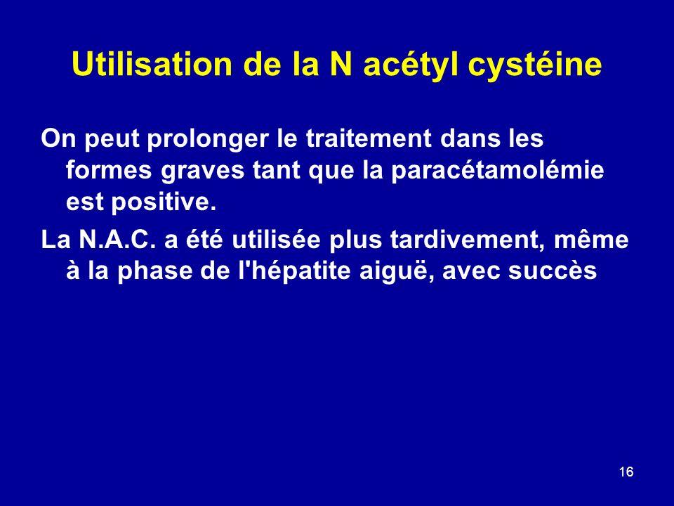 Utilisation de la N acétyl cystéine