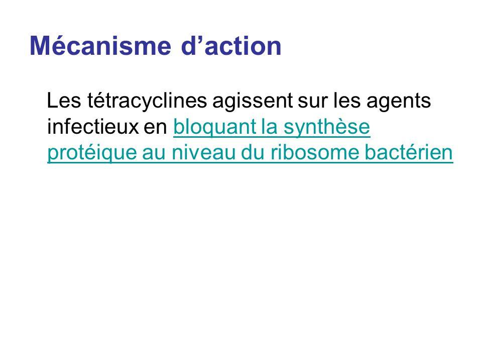 Mécanisme d'action Les tétracyclines agissent sur les agents infectieux en bloquant la synthèse protéique au niveau du ribosome bactérien.