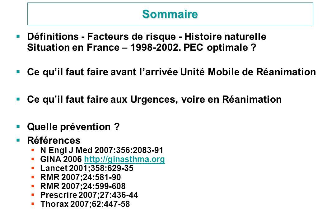 Sommaire Définitions - Facteurs de risque - Histoire naturelle Situation en France – 1998-2002. PEC optimale