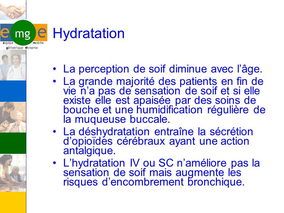 Hydratation La perception de soif diminue avec l'âge.