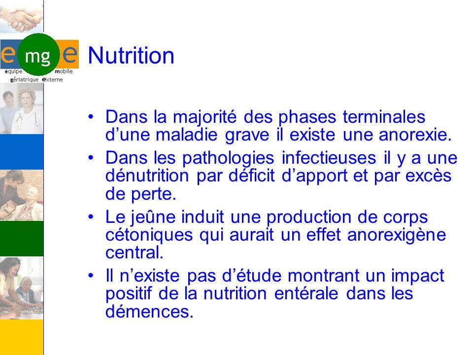 Nutrition Dans la majorité des phases terminales d'une maladie grave il existe une anorexie.