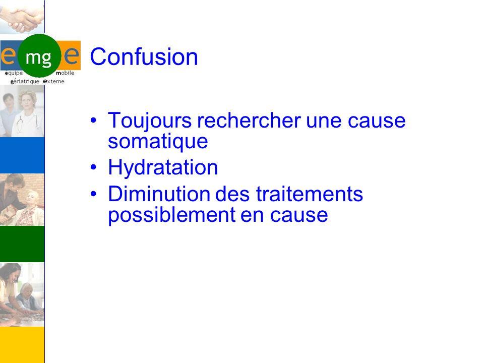 Confusion Toujours rechercher une cause somatique Hydratation