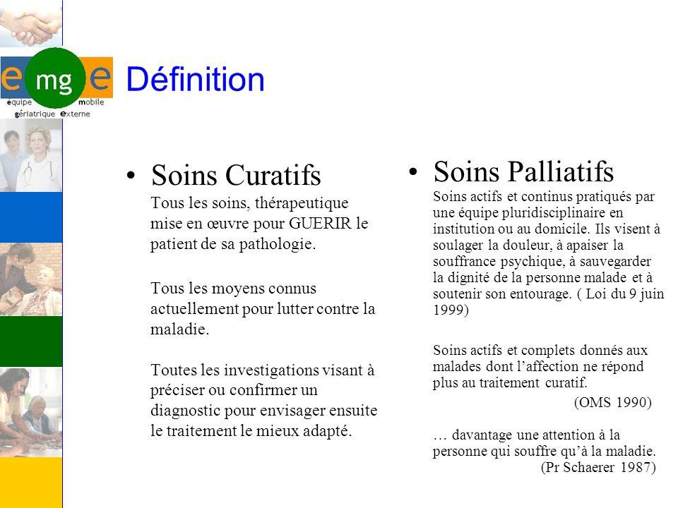 Définition Soins Curatifs Tous les soins, thérapeutique mise en œuvre pour GUERIR le patient de sa pathologie.