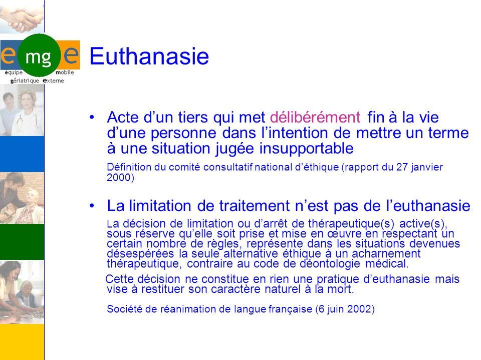 Euthanasie Acte d'un tiers qui met délibérément fin à la vie d'une personne dans l'intention de mettre un terme à une situation jugée insupportable.