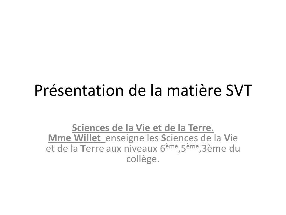 Présentation de la matière SVT