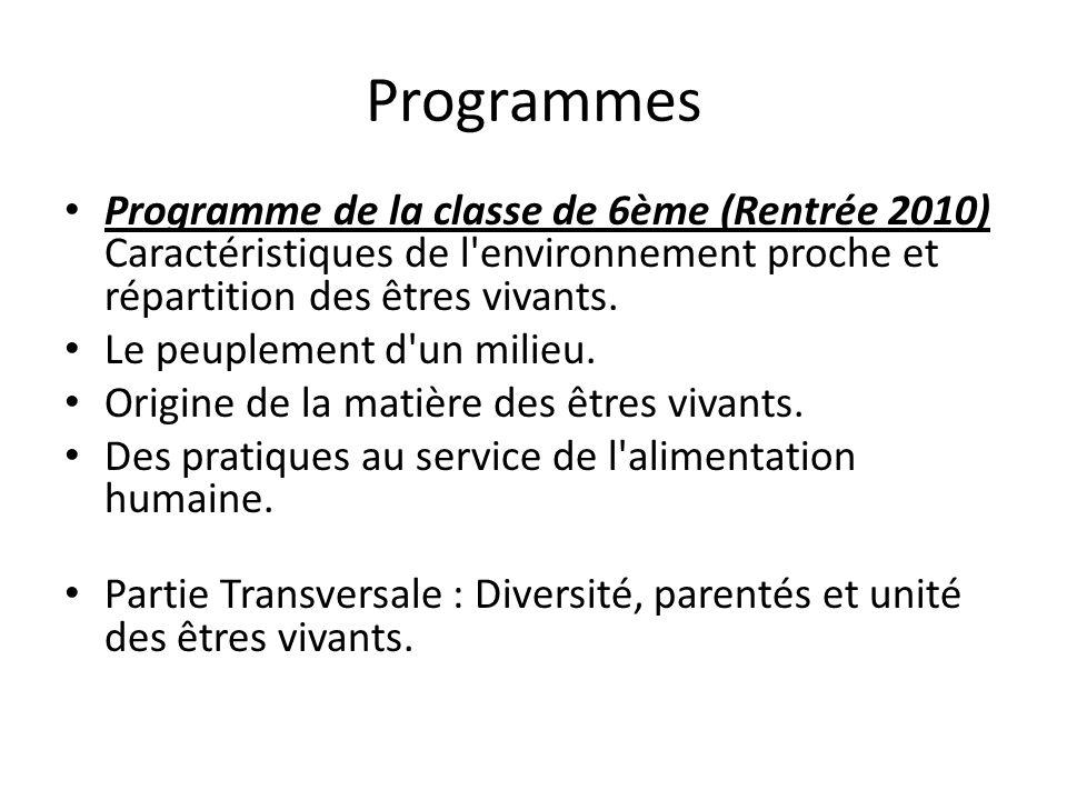Programmes Programme de la classe de 6ème (Rentrée 2010) Caractéristiques de l environnement proche et répartition des êtres vivants.