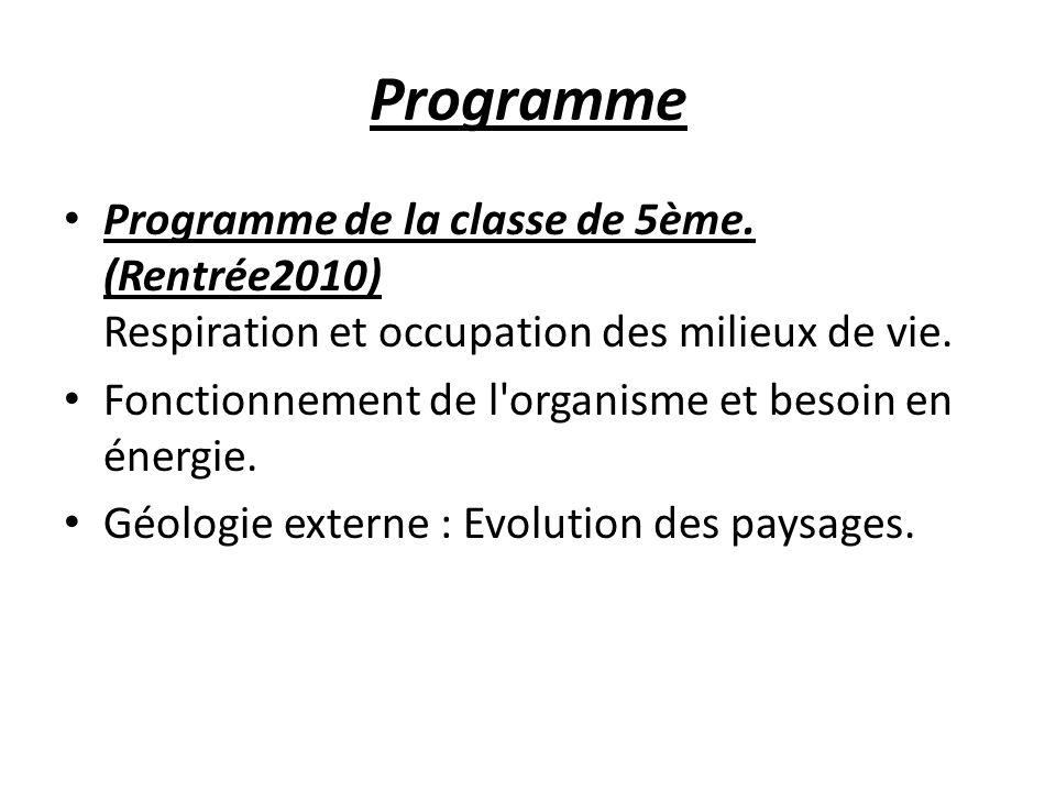 Programme Programme de la classe de 5ème. (Rentrée2010) Respiration et occupation des milieux de vie.