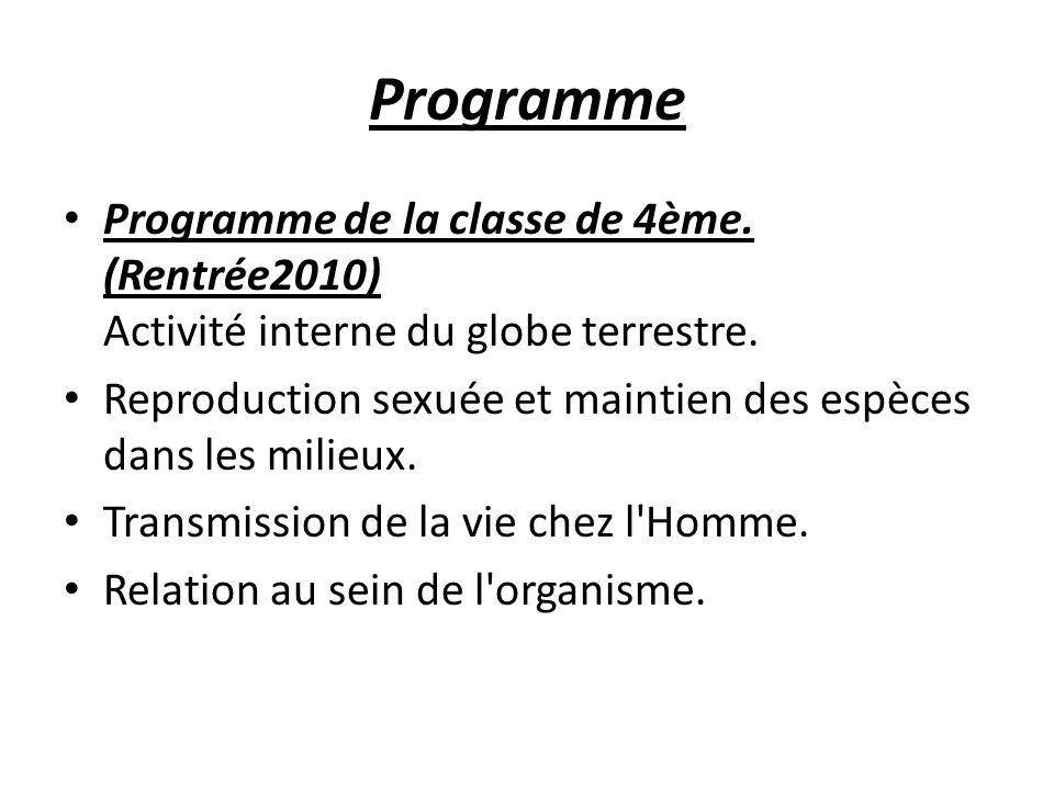 Programme Programme de la classe de 4ème. (Rentrée2010) Activité interne du globe terrestre.