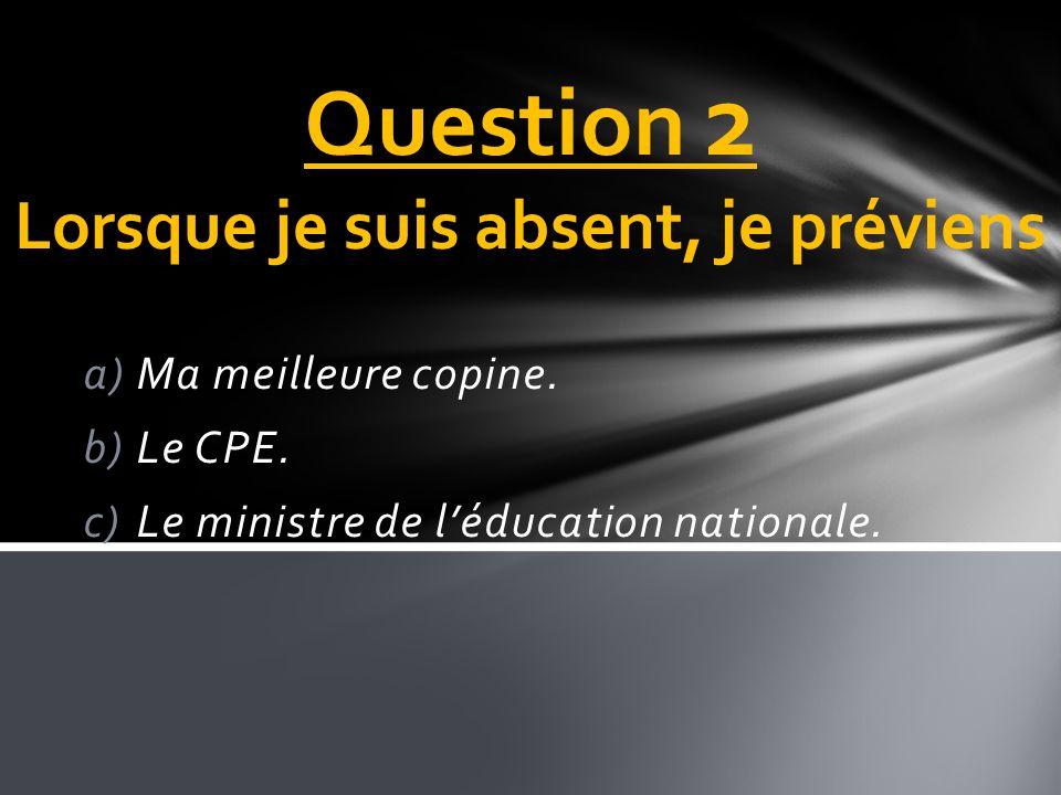 Question 2 Lorsque je suis absent, je préviens