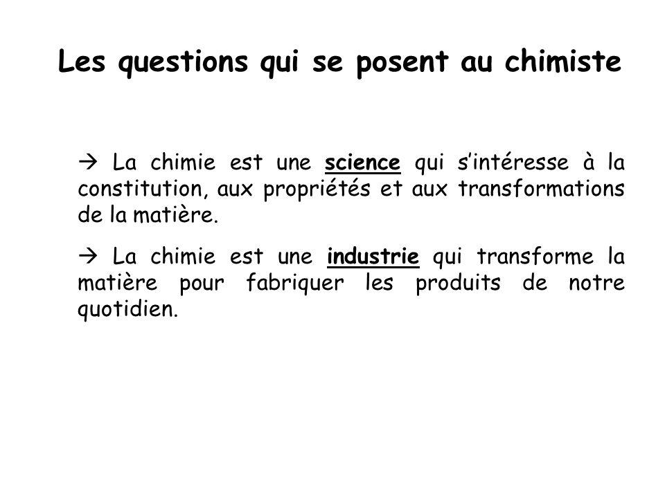 Les questions qui se posent au chimiste