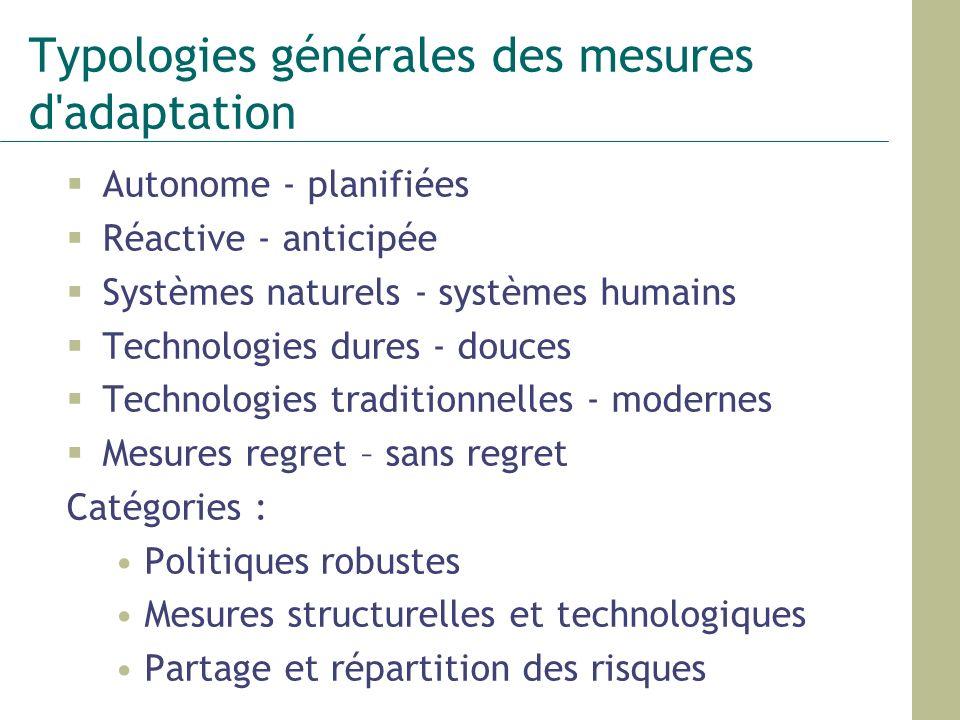 Typologies générales des mesures d adaptation