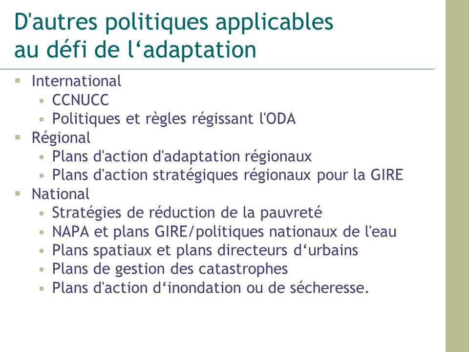D autres politiques applicables au défi de l'adaptation