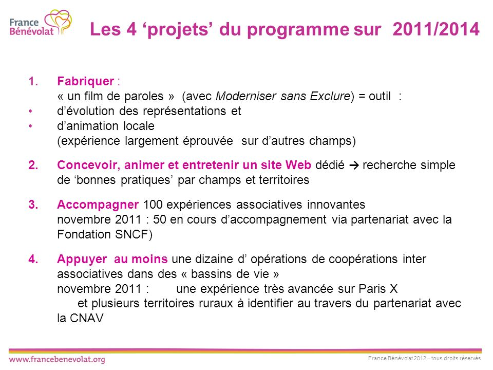 Les 4 'projets' du programme sur 2011/2014