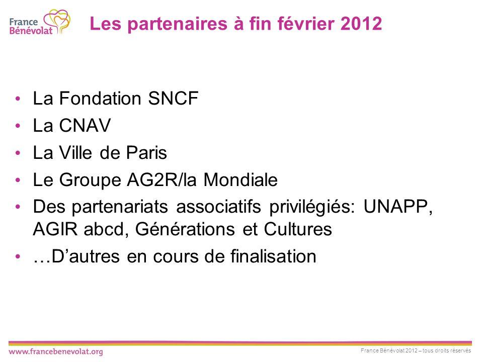 Les partenaires à fin février 2012
