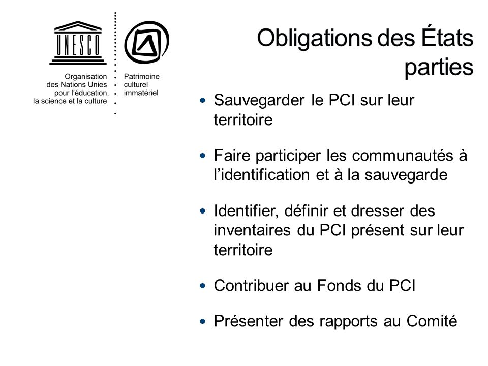 Obligations des États parties