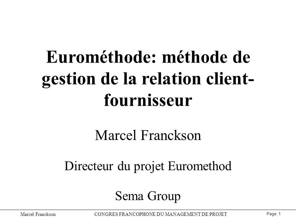 Eurométhode: méthode de gestion de la relation client-fournisseur