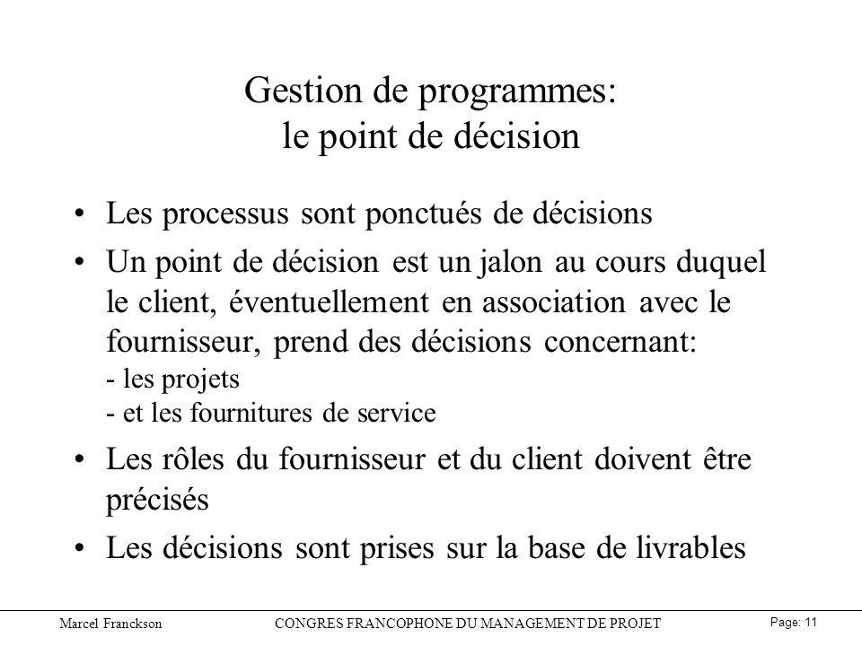 Gestion de programmes: le point de décision
