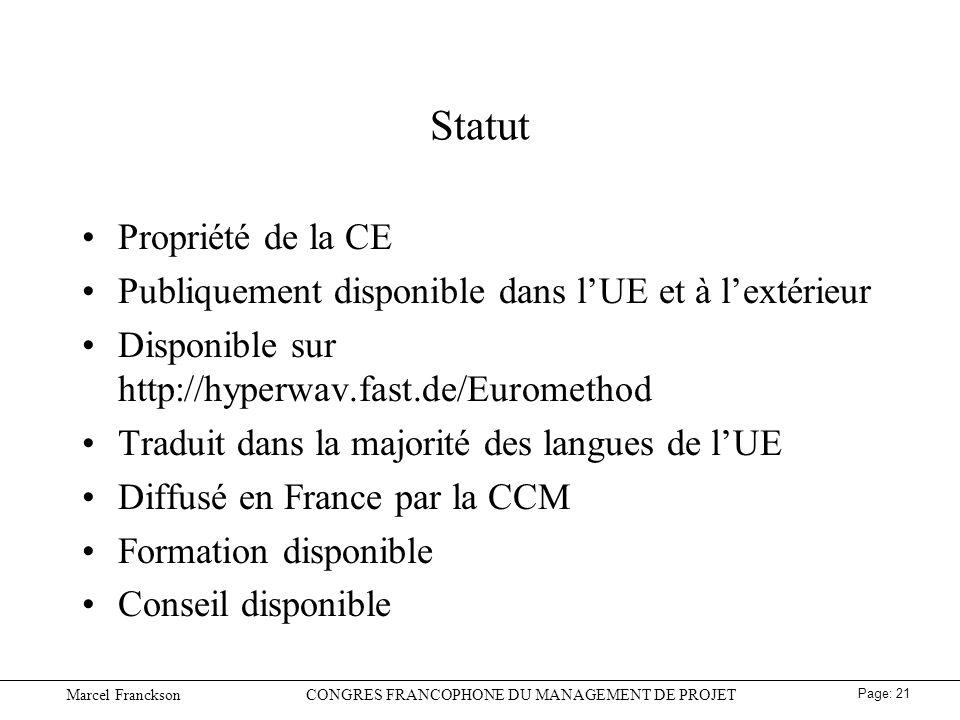 Statut Propriété de la CE