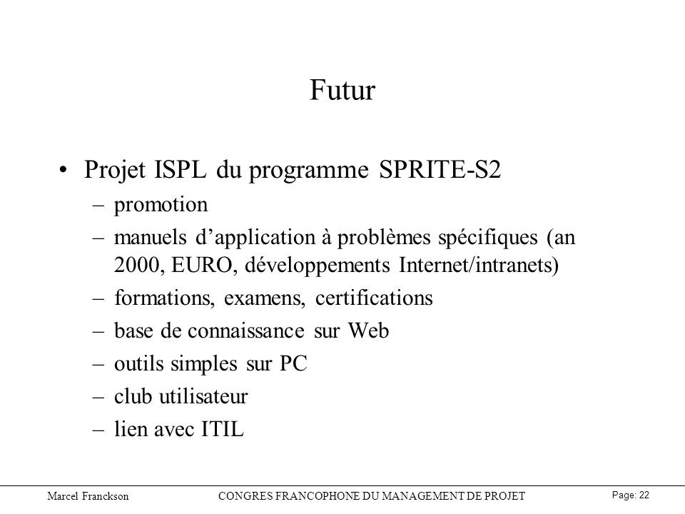 Futur Projet ISPL du programme SPRITE-S2 promotion