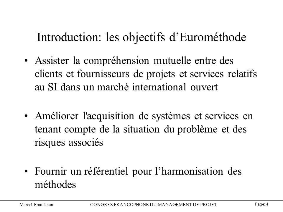 Introduction: les objectifs d'Eurométhode
