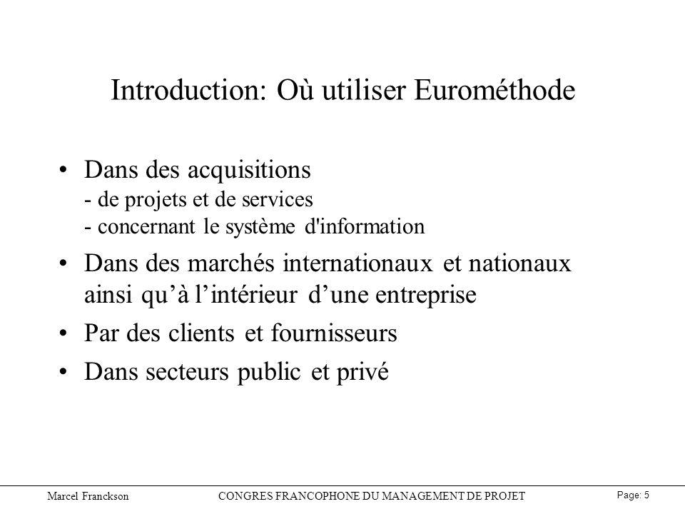 Introduction: Où utiliser Eurométhode