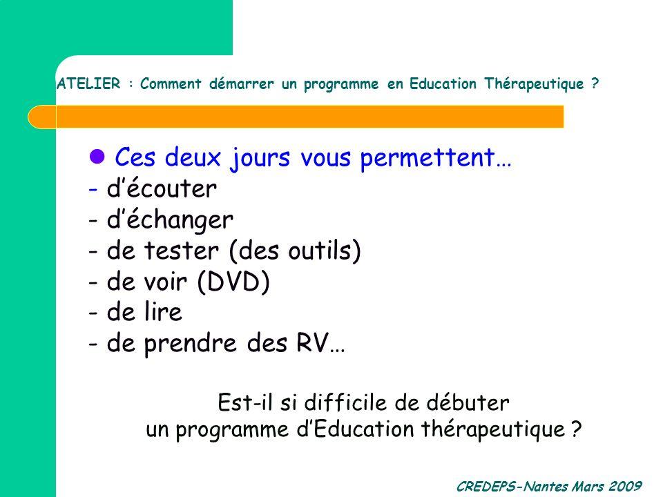 ATELIER : Comment démarrer un programme en Education Thérapeutique