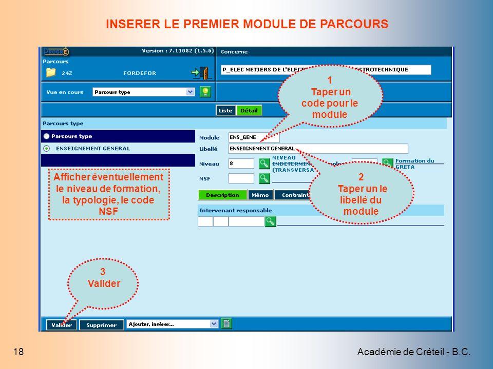 INSERER LE PREMIER MODULE DE PARCOURS