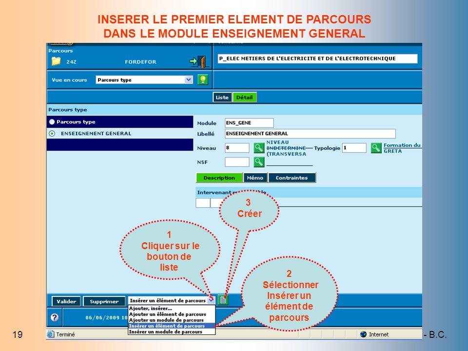 INSERER LE PREMIER ELEMENT DE PARCOURS DANS LE MODULE ENSEIGNEMENT GENERAL