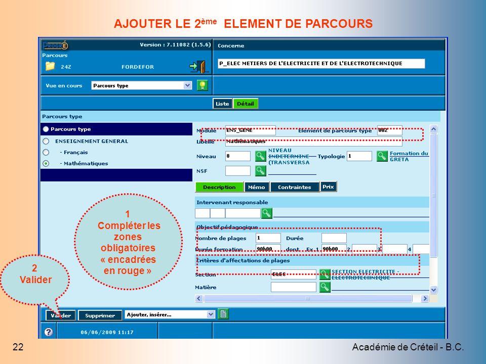 AJOUTER LE 2ème ELEMENT DE PARCOURS