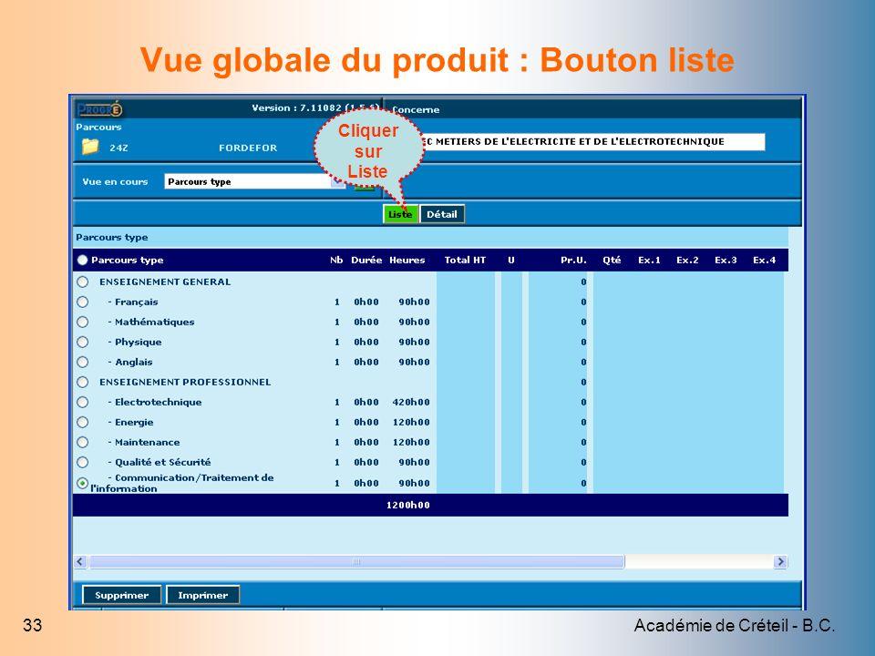 Vue globale du produit : Bouton liste