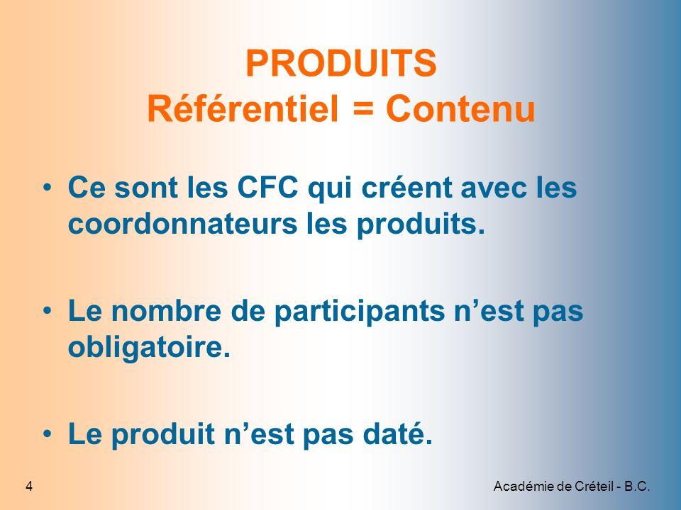 PRODUITS Référentiel = Contenu