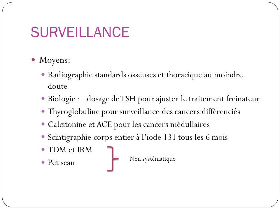 SURVEILLANCE Moyens: Radiographie standards osseuses et thoracique au moindre doute.