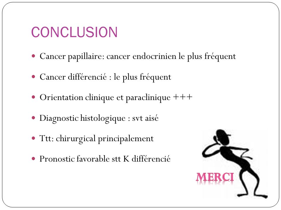 CONCLUSION Cancer papillaire: cancer endocrinien le plus fréquent. Cancer différencié : le plus fréquent.