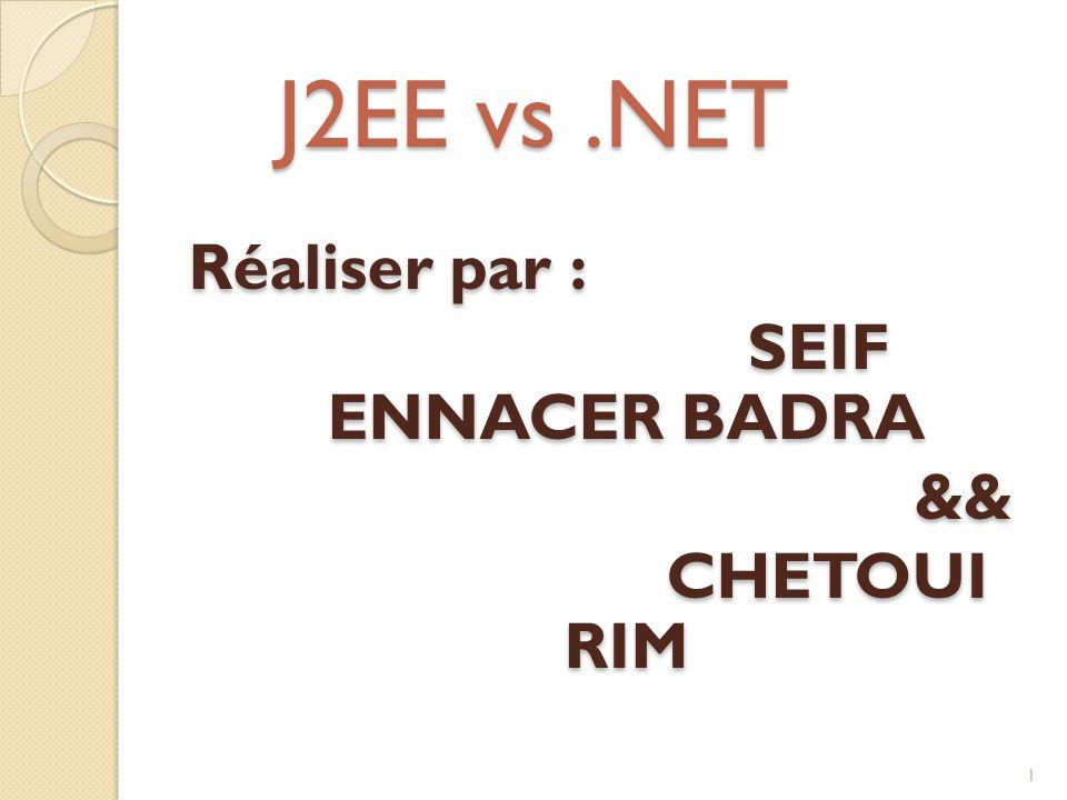 J2EE vs .NET Réaliser par : SEIF ENNACER BADRA && CHETOUI RIM